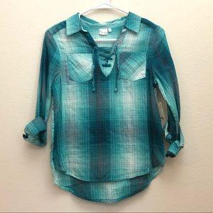 Mudd® Lace-Up Popover Chambray Shirt